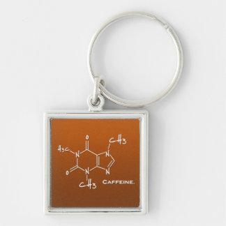 Caffiene Molekül (chemische Struktur) Silberfarbener Quadratischer Schlüsselanhänger