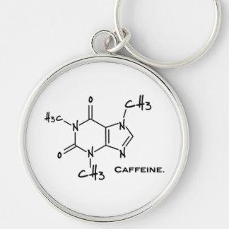Caffiene Molekül (chemische Struktur) Silberfarbener Runder Schlüsselanhänger