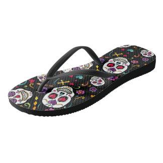 Calaveras Feier - Schwarzes Flip Flops