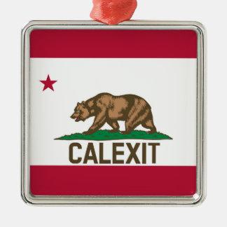 CALEXIT Kalifornien Bärn-Flagge Silbernes Ornament