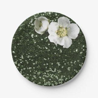 Cali grüner Sequin-weißer Jasmin-mit BlumenGlitter Pappteller