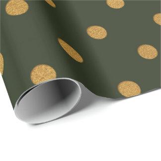 Cali Waldgrün-metallische kleine Tupfen Geschenkpapier