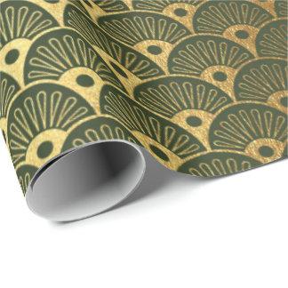 Cali Waldgrünmetallischer Seashells-Kunst-Deko Geschenkpapier