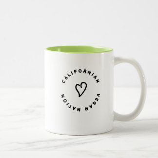 """CALIFORNIAN_VEGAN_NATION "" ZWEIFARBIGE TASSE"