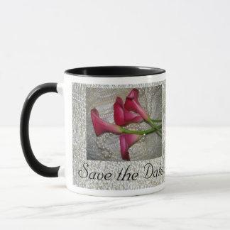 Calla-Lilie/Spitze-Save the Date Tasse