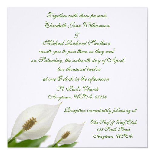 Calla-Lilien-Blumen-weiße Hochzeit Personalisierte Ankündigungskarte