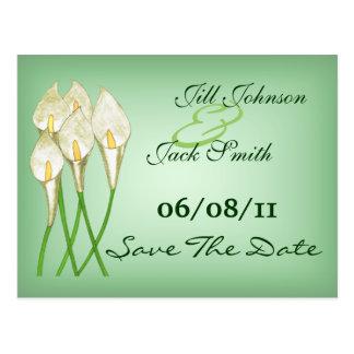 Calla-Lilien (weiß) Save the Date Postkarte