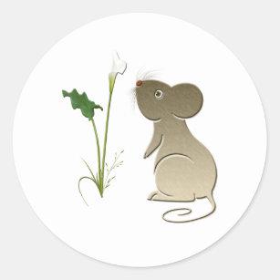 Callalilie und niedliche Maus Runder Aufkleber