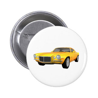 Camaro 1972 Z28: Muskel-Auto: Gelbes Ende: Runder Button 5,7 Cm