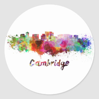 Cambridge MA skyline im Watercolor Runder Aufkleber