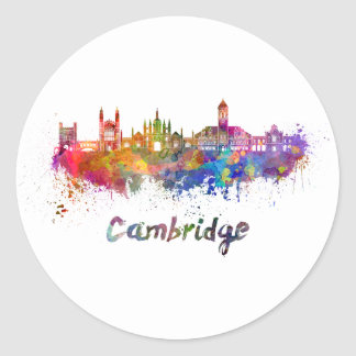 Cambridge skyline im Watercolor Runder Aufkleber