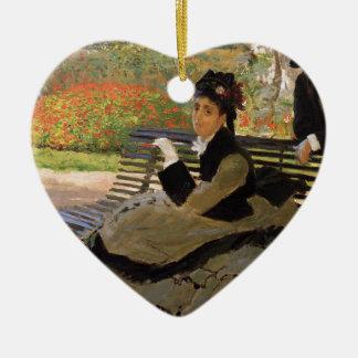 Camille Monet auf einer Garten-Bank - Claude Monet Keramik Ornament