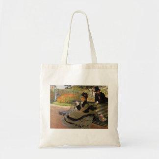 Camille Monet auf einer Garten-Bank - Claude Monet Tragetasche