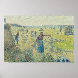 Camille Pissarro - das Ernten des Heus, Eragny Poster