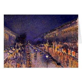 Camille Pissarro der Boulevard Montmartre nachts Grußkarte