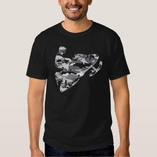Camouflage-grauer Schlitten auf schwarzer Kopie T-shirt
