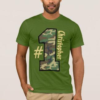 Camouflage-großer Zahl-individueller Name V01 der T-Shirt