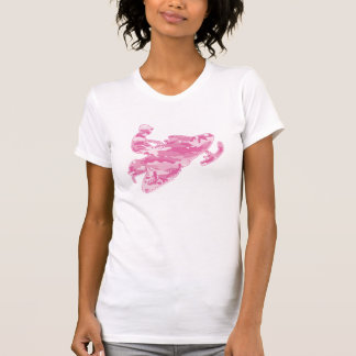 Camouflage-rosa Schlitten auf schwarzer Kopie T-Shirt
