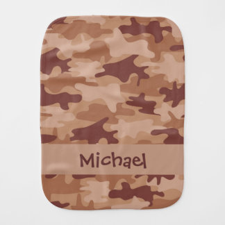 Camouflage-Tarnungs-Name Browns TAN personalisiert Baby Spucktuch