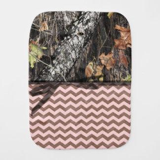Camouflage und Rosa/Brown Zickzack Burp-Stoff Baby Spuchtücher