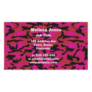 Camouflagemuster des heißen Rosas Visitenkarten Vorlagen