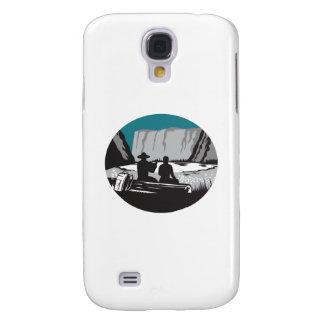 Camper-Lesung, die auf Klotz-Oval-Holzschnitt Galaxy S4 Hülle