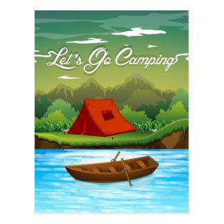 Camping gerieben mit Zelt und Boot Postkarte