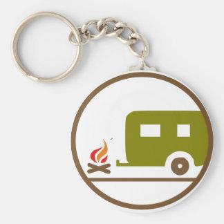 Camping RV-Anhänger und -lagerfeuer Schlüsselanhänger