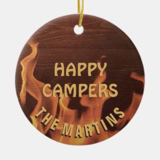 Campings-glücklicher Lagerbewohner-Lagerfeuer Keramik Ornament