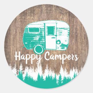 Campings-Spaß-glücklicher Lagerbewohner-rustikaler Runder Aufkleber