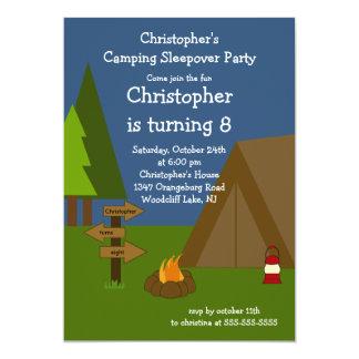 Campingsleepover-Jungen-Geburtstags-Einladung