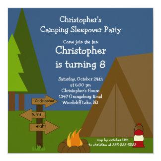 Campingsleepover-Jungen-Geburtstags-Einladung Quadratische 13,3 Cm Einladungskarte