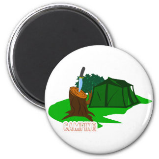 Campingsmesser und -zelt runder magnet 5,1 cm