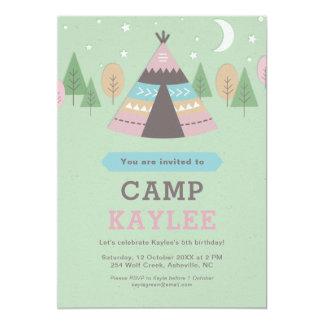 Campingteepee-Zelt-Geburtstags-Party 12,7 X 17,8 Cm Einladungskarte