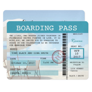Cancun-Hochzeits-Boarding-Durchlauf-Einladung Karte