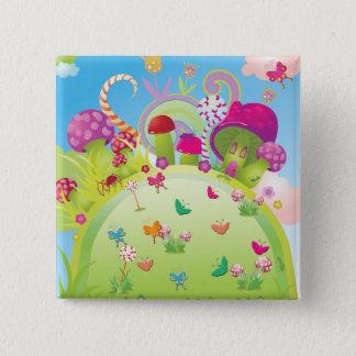 Candyland Magie Quadratischer Button 5,1 Cm
