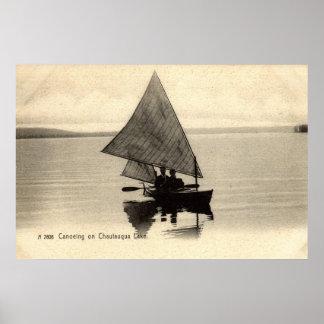 Canoeing auf See Chatauqua New York 1905 Vintag Posterdruck