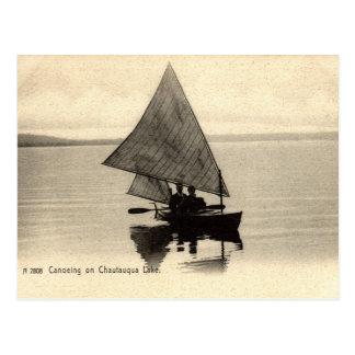 Canoeing auf See Chatauqua New York 1905 Vintag Postkarte