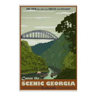 Canoeing Vintages Reiseplakat Poster
