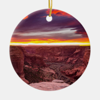 Canyon de Chelly, Sonnenuntergang, Arizona Rundes Keramik Ornament