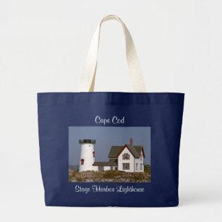 Cape Cod MA-Bühne-Hafen-Leuchtturm-Taschen-Tasche Jumbo Stoffbeutel