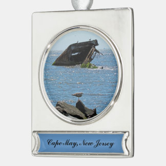 Cape May Schiffbruch Banner-Ornament Silber
