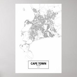 Cape Town, Südafrika (Schwarzes auf Weiß) Poster