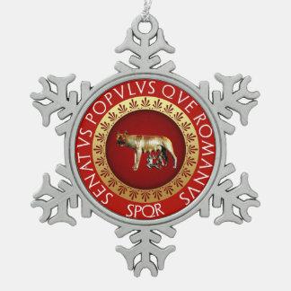 Capitoline Wolf Schneeflocken Zinn-Ornament