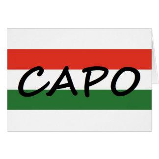 Capo mit den grünen und roten Streifen, Showart! Karte