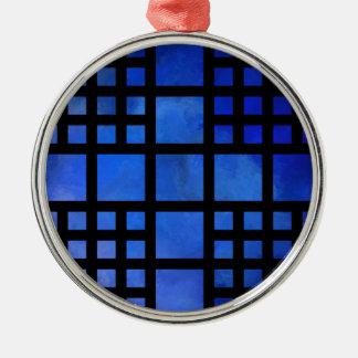 Cappanella V1 - blaue Quadrate Rundes Silberfarbenes Ornament