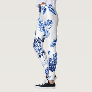 Capri blaues Vintages botanisches BlumenLeonbience Leggings