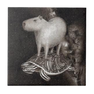 Capybara- und Dosenschildkrötefliegen durch das Fliese