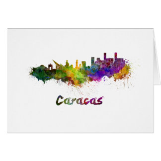 Caracas skyline im Watercolor Karte