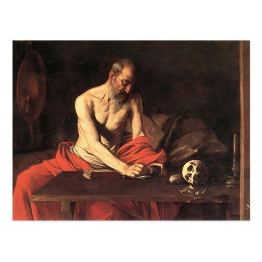 Caravaggio- Heilig-Jerome-Schreiben Postkarte